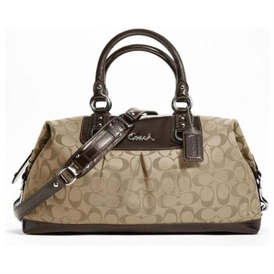 Preload https://item3.tradesy.com/images/coach-ashley-signature-khakimahogany-fabric-and-patent-leather-satchel-10306342-0-0.jpg?width=440&height=440