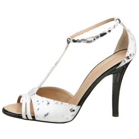 Proenza Schouler Printed Fabric Leather Black/White Sandals