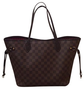 Louis Vuitton Neverfull Mm Tote in Damier Ebene, Red Interior