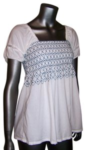 Odille Square Neck Smocked Boho Top White