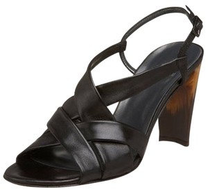 Stuart Weitzman New Leather Strappy Wood Black Sandals