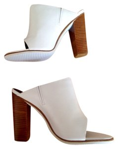 Tibi Chunky Mule Leather White Mules