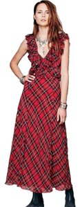 Red plaid Maxi Dress by Free People Boho Bohemian Holiday Scoop Back Maxi Date Night Winter Ruffle Plaid