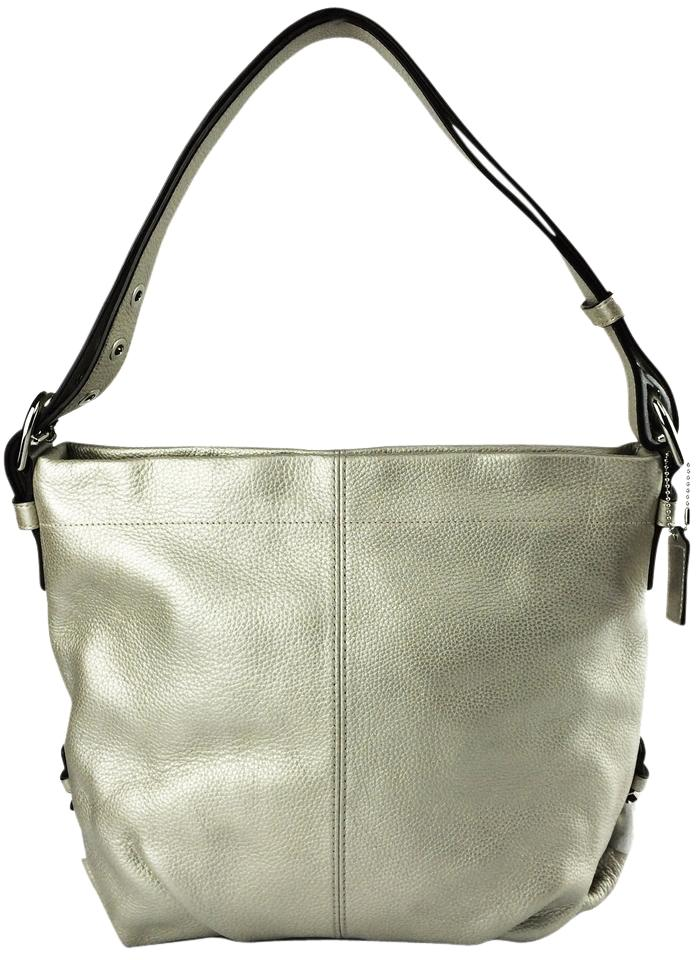2298285c6a Coach Duffle F15064 Convertible Purse Metallic Leather Shoulder Bag Image 0  ...