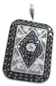 14K WHITE GOLD PENDANT 64 DIAMONDS 1 CARAT BLACK FINE JEWELRY 3.5 GRAMS NO SCRAP