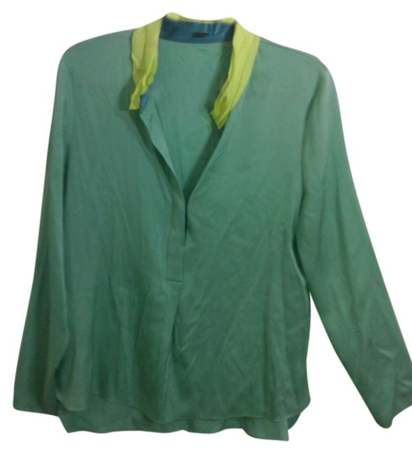 Preload https://item3.tradesy.com/images/tahari-turquoise-and-fluorescent-green-two-tone-long-sleeves-tunic-size-8-m-10309447-0-2.jpg?width=400&height=650