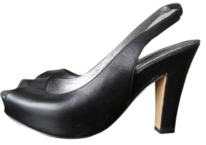 A.B.S. by Allen Schwartz Comfortable Peeptoe Slingbacks Stretchy Slings Black Platforms