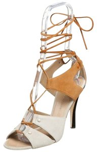 Proenza Schouler Suede Grey Tan Leather Light Grey/Tan Sandals