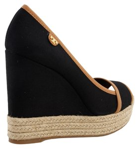 Tory Burch Majorca Tan Black Wedges