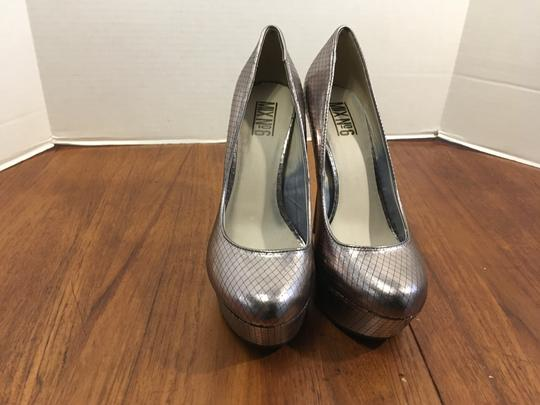 Mix No. 6 Mary Jane Toe Pewter thin stiletto heels Platforms