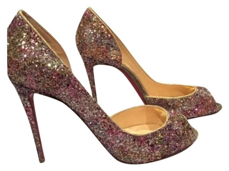 7d13463924 Christian Louboutin Glitter Gold Demi You Open Toe Rosette 38 100mm Pumps
