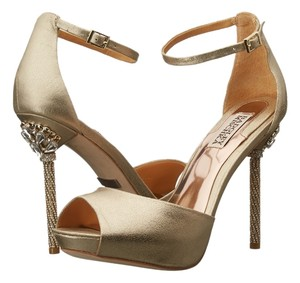 Badgley Mischka Wedding Jewels Metallic Platino Suede Heel Jewelred gold Pumps
