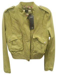 DOMA Crop To Waist Soft pea green Leather Jacket