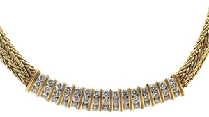 Diamonds Necklace set in 18k Solid Yellow Gold, 47g, 16in