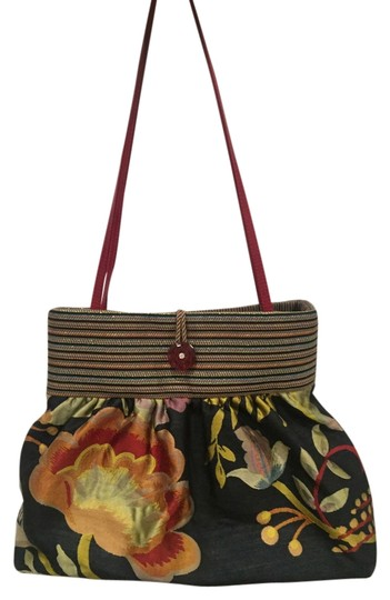 Preload https://item3.tradesy.com/images/made-in-usa-navy-red-gold-flower-and-strap-leather-cotton-silk-lurex-shoulder-bag-10311472-0-1.jpg?width=440&height=440
