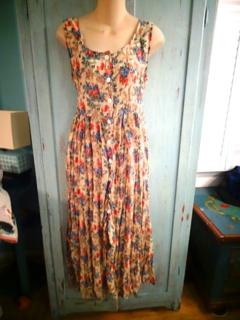 BEIGE MULTI Maxi Dress by Urban Renewal Button Front Outfitters Nineties Reformation Nineties Grunge Flowered Maxi