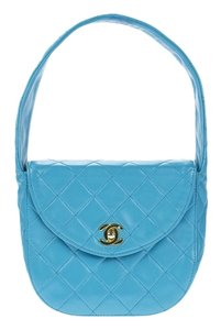 Chanel Teal Vintage Rare Top Handle Satchel in Blue