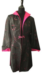 Asian Silk Mid Length Black & Hot Pink Jacket