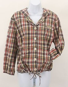 Style & Co Plaid Button Front Tie Hooded B335 Navy Red Gold Tan Beige Black Jacket