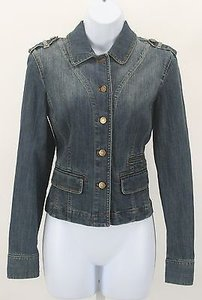 City Denim Epaulets Flat Womens Jean Jacket