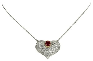 Other Ruby Diamond Gold Heart Choker Necklace