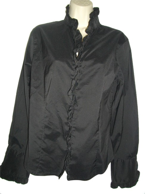 Preload https://item4.tradesy.com/images/classiques-entier-black-ruffles-curved-hem-blouse-size-8-m-10312423-0-1.jpg?width=400&height=650