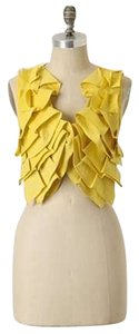 Aryn K for Anthropologie Vest Ruffles Top Yellow