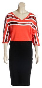 D. EXTERIOR D. Exterior Orange Multicolor Three Quarter Sleeve Stripe Dress (Size L)