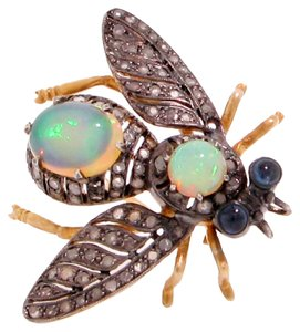 Bee Brooch Diamonds Opals Sapphires Silver on Gold