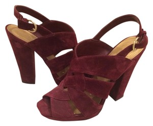 Jessica Simpson Chunky Heel Suede Burgandy Sandals