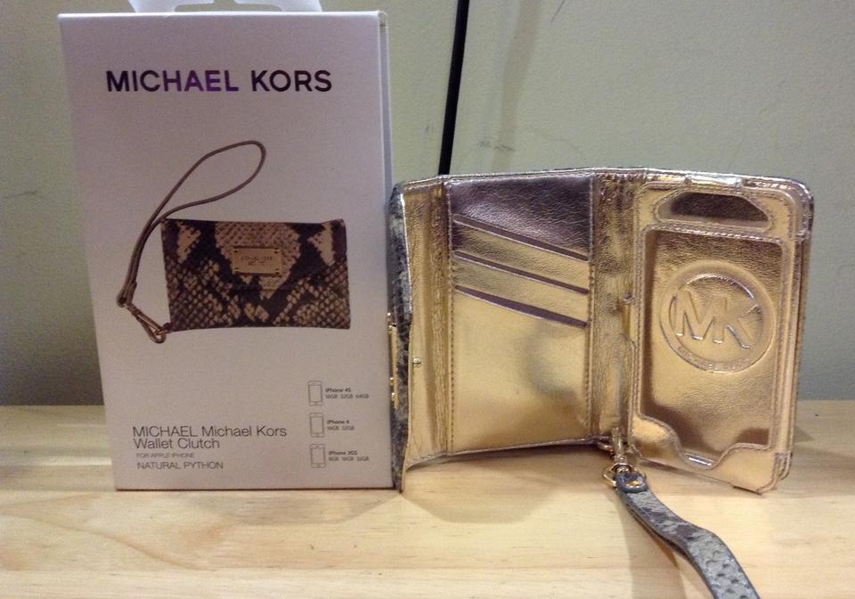 9a66ecd44162 Michael Kors Brown/Beige Clutch Iphone Python Wallet Tech Accessory ...