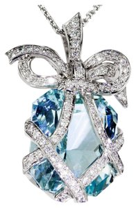 Aquamarine Diamond Gold Bow Pendant Necklace