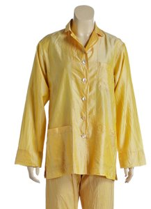 Dosa Dosa Yellow Silk Button Front Top and Silk Pants (Size 1)