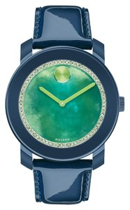 Movado Movado Bold Watercolors 3600267 Blue Leather Green Dial Watch