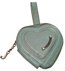 Juicy Couture Leather Heart Wristlet in Turquoise