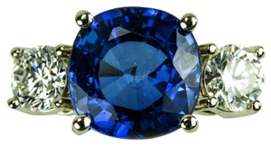 Sapphire Diamond Gold Three Stone Ring