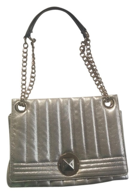 Item - Metallic Chain Strap Purse Quilted Silver Leather Shoulder Bag