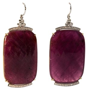Sliced Faceted Ruby Diamond Gold Earrings