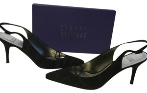 Stuart Weitzman Lining Soles Jewel Box Black shimmering fabric and leather slingback Pumps