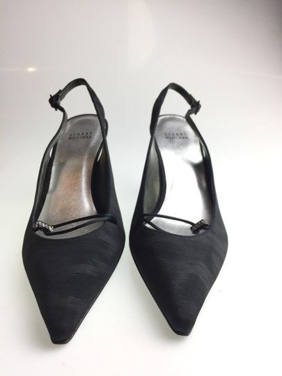 Stuart Weitzman Shimmering Leather Lining Leather Soles Slingbacks Jewel Box Black Pumps
