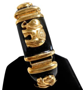 New York Jeweler 14k ITALIAN Gold (33g) Black Onyx Elephant Bracelet