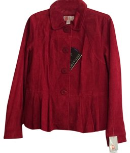 Bernardo Peplum Leather Red Leather Jacket
