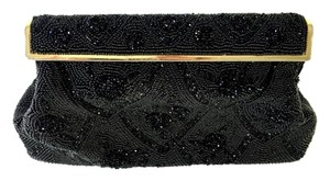 Other Vintage Beaded Satin France Designer Evening Party Cocktail Black and Gold Clutch