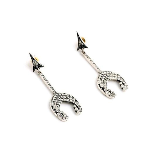 Other Pave Stone Silver Arrow Point Statement Earrings