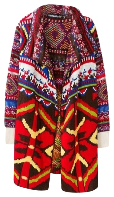 Item - Red/Multi Colorful Cardigan Guadix Style 58j2lb3 Jacket Size 4 (S)