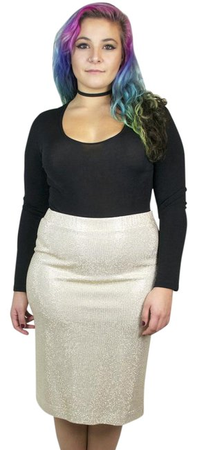 St. John Studded New Years Eve Pencil Bodycon Skirt Gold, Ivory