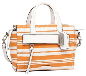 Coach Bleeker Woven Leather Mini Riley Handbag Tote Bright / Satchel in Mandarian / White