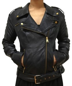 Punto Fashion Gold Metal Navy Leather Jacket