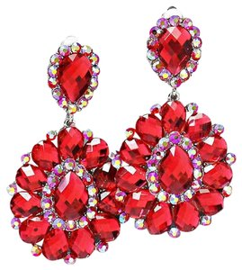Red Rhinestone Crystal Hematite Flower Leaf Design Chandelier Drop Dangle Clipon Earrings