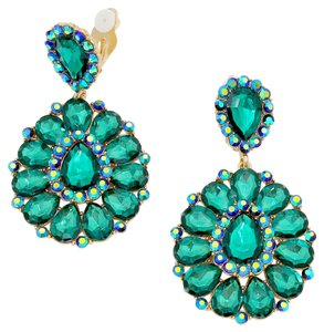 Other Green Rhinestone Crystal AB Gold Flower Leaf Design Chandelier Drop Dangle Clipon Earrings